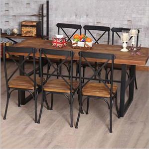 Meubles en bois de pays américain rétro pas cher, table en fer forgé dans le restaurant la combinaison dinette de table de dîner de famille Fe