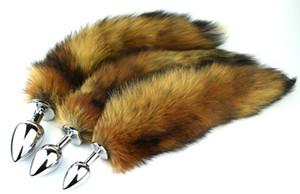 Larga Fox Tail Anal Plug Metal Butt Taps Sex Toy 7.5cm 8.5cm 9.5cm Tamaño 3 del enchufe para la opción Cosplay Juguetes