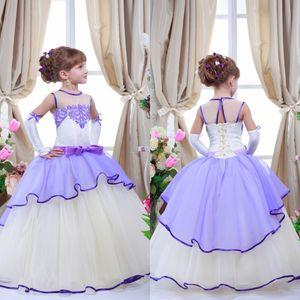 2016 романтический фиолетовый лаванда сирень цветок девушки платья для свадьбы Jewel шеи тюль длина пола кружева аппликация детские свадебные платья