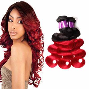 Renkli Brezilyalı Kırmızı Ombre İnsan Saç 3 Demetleri Iki Ton 1b / Kırmızı Brezilyalı Vücut Dalga Remy İnsan Saç Dokuma Uzantıları