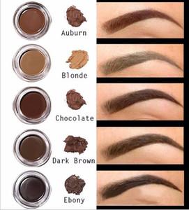 De alta calidad Pomada Brown medio del maquillaje a prueba de agua de cejas 4g Rubio Dark Chocolate Brown ébano Auburn Brown medio EBONY