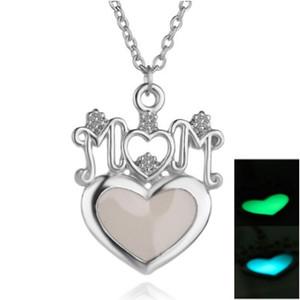 Mom Heart Night Light Halsketten Blau Grün Glow In The Dark Silber Ton Mum Schmuck Halsketten