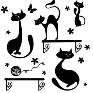 Черный кот играет стикер этикеты стены Гостиная Спальня фон стены декор росписи искусства бабочки цветы мяч строка стены плакат