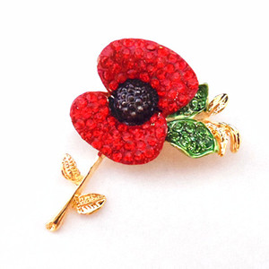 DHL LIVRAISON GRATUITE Brillant Rouge Autriche Cristaux Poppy Flower Pin Broche En Gros Coquelicot Broches British Memorial Days Cadeau Coquelicot Badge
