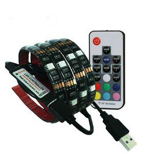 DC5V USB светодиодные полосы 5050 RGB гибкий свет 1 м 2 м ТВ фоновое освещение RGB светодиодные ленты клейкая лента IP20 / IP65 водонепроницаемый