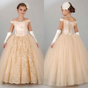 Fora do Ombro 2015 Laço de Ouro Vestidos Da Menina de Flor Appliqued Tulle Até O Chão Crianças Vestidos de Casamento Formal Vestidos de Menina Pageant Custom Made