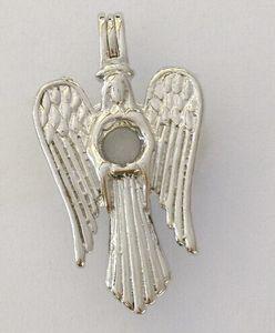 18kgp Goddess Pearl / Crystal / Gem Bead Cage Medallones, La Virgen María con Alas de Ángel estilo Wish Colgante para DIY encantos de la joyería de moda