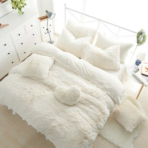 Vente en gros- Ensembles de literie princesse de couleur de luxe 3/4/6 / 7pcs Blanche-Neige laine d'agneau laine jupe de lit housse de couette couvre-lit linge de lit