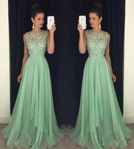 2016 Vestidos de baile sexy Ilusión del cuello Perlas de cristal Lentejuelas Vestidos largos de fiesta Fiesta Hollow Back Green Chiffon Plus Size 2016 Ocasión Vestido