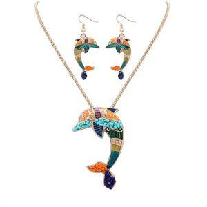 NUEVO estilo punk 18KGP / 925 plata realista Drip Rainbowful Naughty dolphin shape joyería conjunto aleación collar pendientes accesorios para mujeres