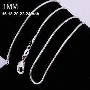 100 adet 925 gümüş P pürüzsüz yılan zincirleri Kolye 1 MM yılan zincir karışık boyut 16 18 20 22 24 inç sıcak satış