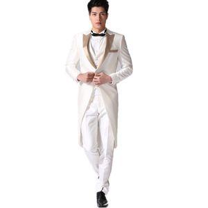 NEW High-end men's prom party tuxedo white elegant gentleman wedding groom formal suits four-piece suit (jacket+pants+vest+tie) custom made