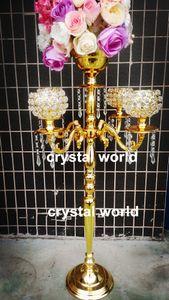 высокие свадебные хрустальные канделябры/металлические подсвечники с цветочной чашей свадебные центральные на 11 продажа