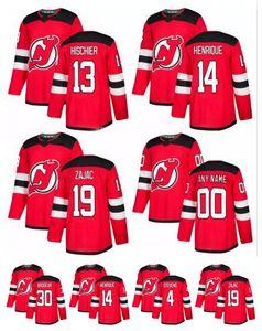 2018 New Jersey Devils Jersey 13 Nico Hischier 14 Adam Henrique 19 Travis Zajac 30 Martin Brodeur 9 Taylor Hall Red Hockey Jersey personalizado
