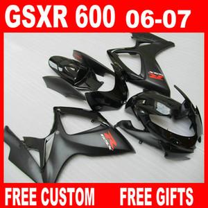 Kit corpo personalizzato per carene Suzuki GSXR 600 GSXR750 06 07 kit carena GSX-R600 R750 2006 2007 nero opaco piatto