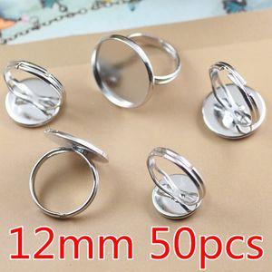 Латунь Белый K покрытием кольцо настройки 12 мм пустой лоток кольца Камея кабошоны база аксессуары выводы