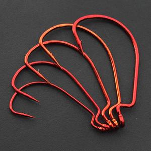 Ganchos de pesca Red Crank Hook Isca Soft Isca Anzol Tamanho 1/0 # -5 / 0 # Alto Carbono Aço Lote 100 Peças