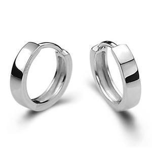 Orecchini di gioielli in argento Orecchini a cerchio Orecchini a cerchio a specchio Cerchi circolari a polsino con cinturino nuovo