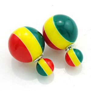 Vente chaude De Mode Boucles D'oreilles Couleur Stripe Double Ball Boucles D'oreilles Pour Les Femmes Hypoallergénique Bijoux Livraison Gratuite