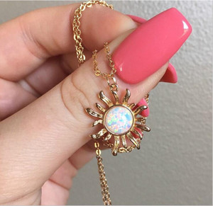 Las mujeres de lujo de moda girasol collar cristalino de Austria de ópalo colgante de circón