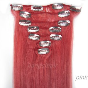 "Brazilian virgin Remy Human Hair Extensions 7A 18"" 20"" 95g Pink Straight styles Brazilian Indian Peruvian Malaysian Clip in Hair Bundles"