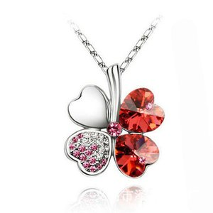 Clover Necklaces Silver Plated Chain Crystal Necklace Heart Lucky Four Leaf Clover Pendant Necklaces