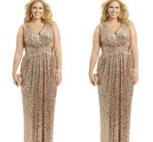 Sexy Plus Size Vestidos de Ouro Rosa Lantejoulas Bainha Com Decote Em V Até O Chão Vestidos de Noite Formal Mãe da Noiva Prom Vestido Personalizado