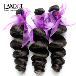 4pcs / lot 8-30 pulgadas Peruvian Loose Wave Curly Virgin Hair Grade 7A paquetes de armadura del cabello humano sin procesar Natural Black Extensions Double Wefts