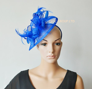 Cappello blu royal di fascinator Sinamay per gare di kentucky derby ascot di Wedding.