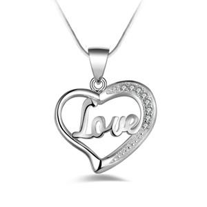 Modo libero di trasporto 925 di alta qualità cuore d'argento dell'argento con i monili del diamante 925 collana d'argento regali di festa di San Valentino Hot 1705