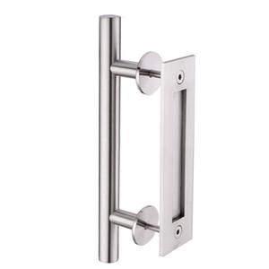 KIN MADE الفولاذ المقاوم للصدأ انزلاق باب الحظيرة مقبض الباب الخشب سحب فلوش