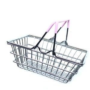 Mini Süpermarket Alışveriş Sepeti Çocuk Oyuncak Masaüstü Kozmetik Eşyalar Organizatör Demir Depolama Sepeti 14.5 * 10.5 * 5.5 cm