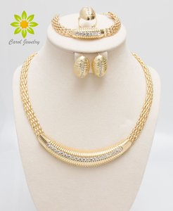 Envío gratis 24 K Gold Filled Popular Necklace Earrings Bracelet Ring African Fashion Women Big Jewelry Sets