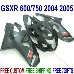 Livre personalizar kit de carenagem ABS para SUZUKI GSXR600 GSXR750 2004 2005 K4 GSXR 600 750 04 05 todas as carenagens preto fosco definir FG67