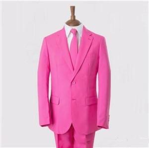 2016 Custom Made Pembe Damat Smokin İki Düğme Erkek Düğün Ücretsiz Nakliye Suits Balo Parti Suit (Ceket + Pantolon + Kravat)