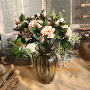 4 colores Hermosa falso artificial Gardenia ramo de flores de seda Decoración para la boda Decoración libre de envío GF15265A