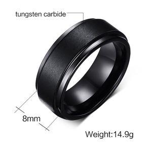 Anel de casamento 8mm Clássico Conforto Fit Mens Preto Tungsten Carbide Wedding Band Anel Venda Quente Anel nos EUA e na Europa