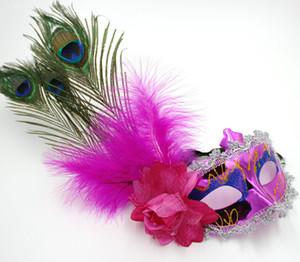 Maschera di Halloween Maschera di pizzo italiana di lusso Maschera veneziana Maschere di piume di pavone Maschera mascherata JIA348