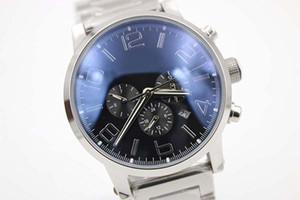 Nuovo quadrante nero in vetro automatico posteriore argento cintura in acciaio inox da uomo in acciaio inox puntatore orologio da uomo sport timer orologi da polso