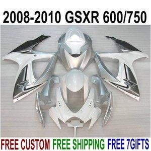 High quality ABS fairing kit for SUZUKI GSXR750 GSXR600 2008-2010 K8 K9 white black silver fairings set GSXR600 750 08 09 10 FA39
