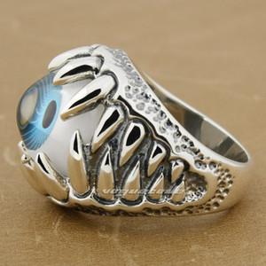Огромный синий глазное яблоко череп Коготь 92,5% стерлингового серебра мужские кольца 8S009 США размер 8~14 Бесплатная доставка