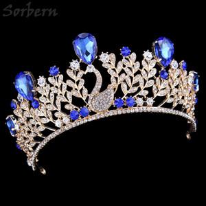 Lega d'oro Royal Blue strass corona copricapo per spose Quinceanera Vintage lusso diademi e corone accessori da sposa