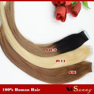 "XCSUNNY 브라질 레미 휴먼 헤어 익스텐션 Ombre Cheap Tape Hair Extensions 18 ""20""100g Ombre 헤어 익스텐션 테이프"