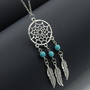 Sıcak satış Dream Catchers gerdanlık kolye vintage gümüş kanatlar tüy yaprak turkuaz kolye kadınlar için s kolye Moda Takı