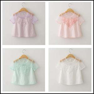 2015 muchachas de moda dulces de encaje floral ahueca hacia fuera la camiseta niños perspectiva blusa ropa manga corta rosa blanco DHL MOQ libre: 12 unids SVS0247 #