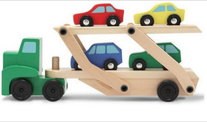 Double Deck Carrier Loader Wooden 4 Small Cars Set Children Boys Man Model Toys Gifts Diecast Cars Model Vehicle Car sets D3635