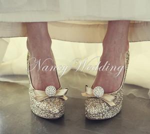 Sapatos de noite e de casamento para as mulheres de luxo de ouro strass dedo do pé redondo saltos de noiva vestido de baile sapatos