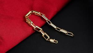 Modelos coreano 1: 1 retangular de ouro dominador popular pulseira homens atmosfera personalizada banhado a ouro 18k jóias