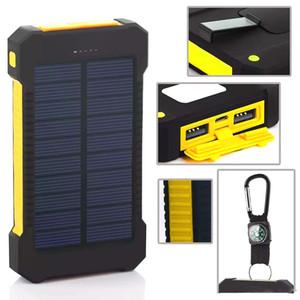 Iphone 8 banco de energia solar dupla banco de potência USB 20000mah bateria externa carregador portátil Bateria externa pacote para celular