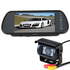 "Impermeabile 18 IR LED Night Vision Auto Reverse camera + 7 ""Car Monitor Mirror Car Rearview Kit 10m cavo gratuito per lungo Truck Bus"